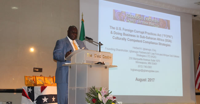 Photo: AQS Ltd Founding Partner/CEO Hebert Igbanugo making his presentation at the U.S. Commercial Service (United States Consultate General) 2017 Networking with the USA (NUSA) awards event in Lagos, Nigeria, August 16th, 2017